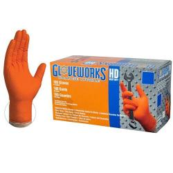 Gloveworks HD Orange Nitrile Industrial Latex Free Disposable Gloves